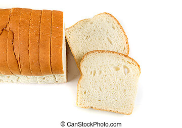 Loaf of whole grain bread isolated on white background