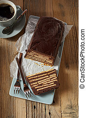 Loaf-shaped Kalter Hund cake and coffee