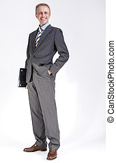 loafers., mode, ordinateur portable, penny, contre, poser, white., complet, portrait, homme affaires, caucasien, content