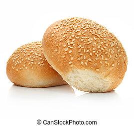 loafs, 2, 隔離された, 新たに, 白パン