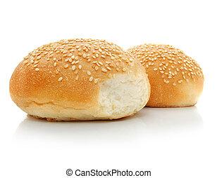 loafs, dwa, odizolowany, świeży, biały chleb