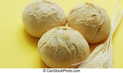 Loafs of wheat bread - From above view of three round loafs...