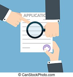 Loan application form document concept. Vector illustration in flat style.