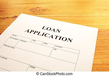 loan application form or document in bank office showing...