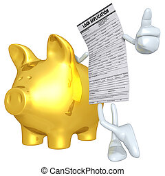 Loan Application With Gold Piggy Bank