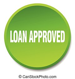 loan approved green round flat isolated push button