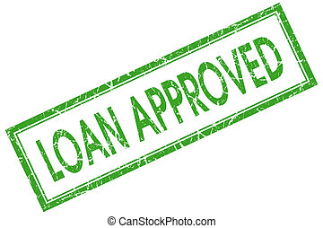 loan approved green square stamp