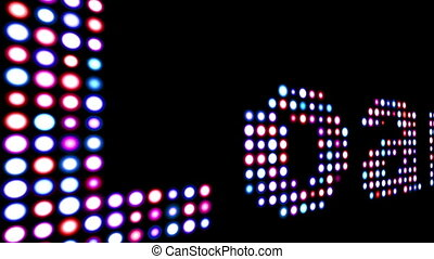 Loan colorful led text over black