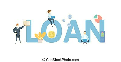 LOAN. Concept with people, letters and icons. Flat vector...