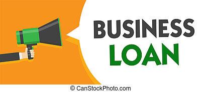 loan., concetto, finanziario, messaggio testo, altoparlante, ipoteca, assistenza, discorso, presa a terra, megafono, bolla, parlante, loud., affari, avanzamenti, significato, debito, uomo, contanti, credito, scrittura