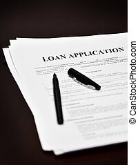 Loan Contract Document on Desk with Black Pen - Document...