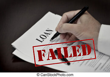 Loan Contract Document on Desk with Black Pen Red Failed...