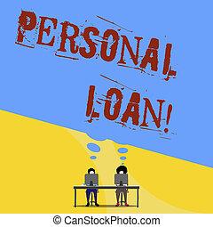 loan., financier, business, company., personnel, photo, projection, écriture, conceptuel, individus, texte, pris, main, prêt, unsecured