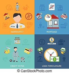 Loan Foreclosure Icons Set