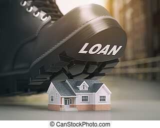 loan., hypothèque, forclusion, maison, prêt, problems., botte, saisie, concept., crise