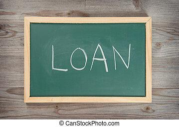 Loan letter on chalkboard