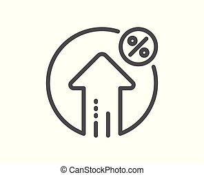 Loan percent growth line icon. Discount sign. Vector
