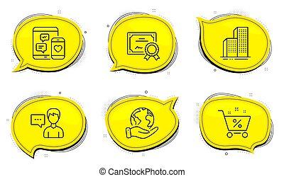 Loan percent, Social media and Skyscraper buildings icons set. Person talk sign. Vector