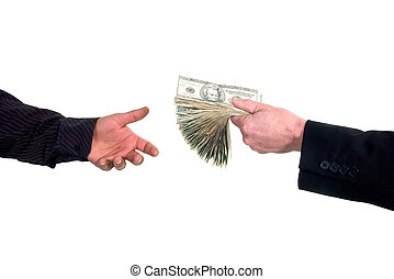 loaning cash money - Business man handing cash to another...