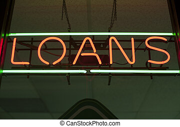 loans neon sign  - loans neon sign