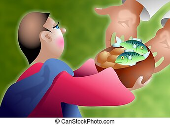 Loaves and Fishes - Young boy giving his basket of five...
