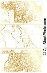 Lobamba Swaziland, Luanda Angola and Lome Togo City Map Set in Retro Style in Golden Color. Outline Map.