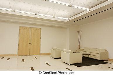lobbizik, alatt, irodaépület