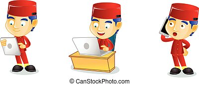 Lobby boy with laptop mascot