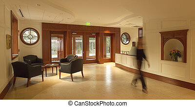 Lobby - Entrance lobby or foyer with mahogany paneling in...