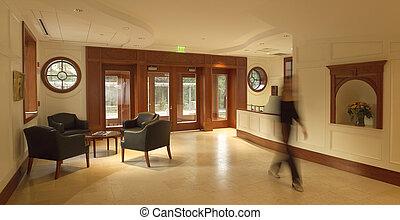 Lobby - Entrance lobby or foyer with mahogany paneling in ...