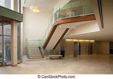 lobby in a modern building - Modern office building lobby in...