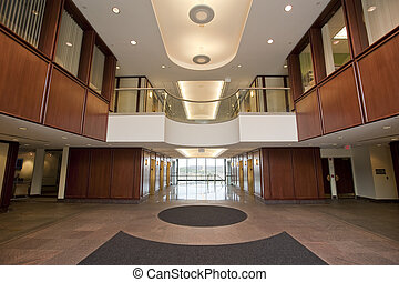 Lobby in office building - Lobby entrance in mahogany to a ...