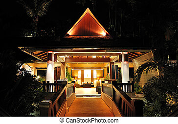 Lobby night illumination at the luxury hotel, Phuket,...