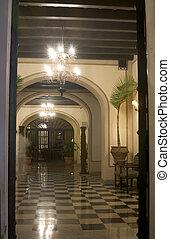 lobby old hotel - lobby of old luxury hotel viejo san juan,...