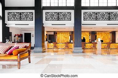 Lobby - The hotel, luxurious decoration inside.