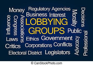 lobbying, nuage, groupes, mot