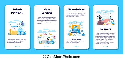 Lobbyist and lobby mobile application banner set. ...