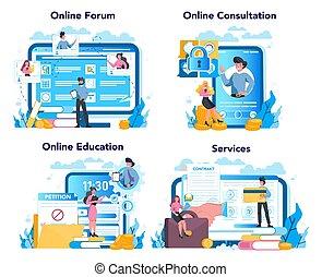 Lobbyist and lobby online service or platform set. ...