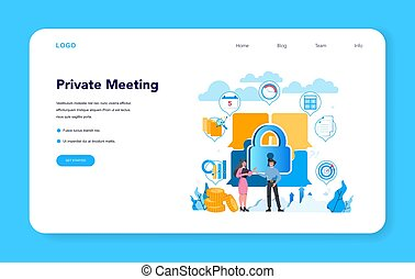 Lobbyist and lobby web banner or landing page. Professional ...