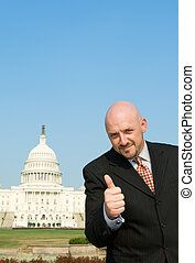Lobbyist Thumbs Up Caucasian Man US Capitol - Happy white...