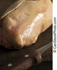 Lobe of Foie Gras on a Chopping Board
