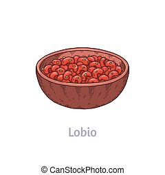 Lobio in bowl - traditional national dish of georgian cuisine. Delicious food for vegetarian, vegetables meal prepared from stewed kidney beans. Vector sketch isolated illustration