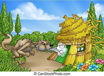 lobo, baixo, três, grande, soprando, casa, pequeno, mau, porcos