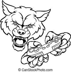 lobo, gamer, mascote
