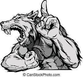 lobo, mascota, cuerpo, vector, caricatura