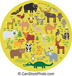 lobo, tartaruga, bisonte, veado, eurasia, morsa, selo, morcego, guaxinim, panda, cobra, cavalo, vetorial, urso, leopardo, polar, camelo, galo, águia, gannet, raposa, pele animal, perdiz, cabras, sheep, crocodilo, marrom, elephant., alce, touro
