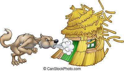 lobo, três, grande, palha, soprando, casa, pequeno, mau, porcos