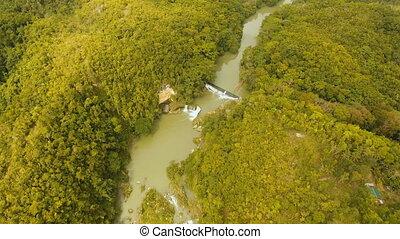 Loboc river in the rainforest Philippines, Bohol. - Aerial...