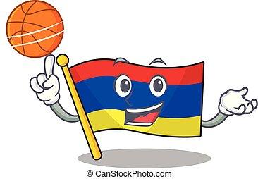 lobogó, örményország, betű, birtok, karikatúra, kosárlabda