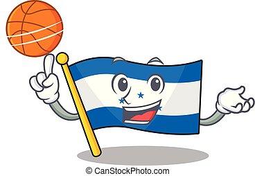 lobogó, betű, birtok, honduras, karikatúra, kosárlabda